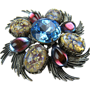 Signed FLORENZA Magnificent Imitation Opal Brooch with Matching Earrings