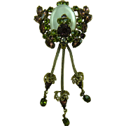 Sweet Victorian Revival Brooch with Dangles Suffragette Colors