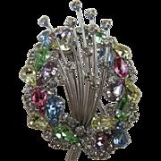 "1960's Rainbow Rhinestone Fur Clip with Matching Earrings ""Shooting Stars"" Affect"