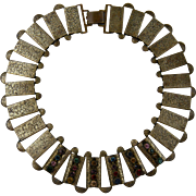 Ornate Egyptian Revival Book Chain Necklace with Colorful Rhinestones