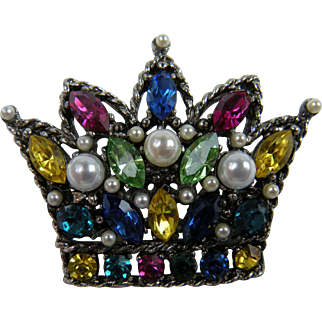 Regal Crown Brooch Unsigned