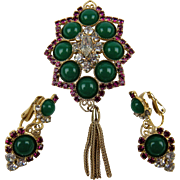 """DeLizza and Elster """"Juliana"""" Brooch with Matching Clip Earrings"""