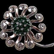 1940's Signed Nettie Rosenstein Sterling Silver Flower Fur Clip Huge!