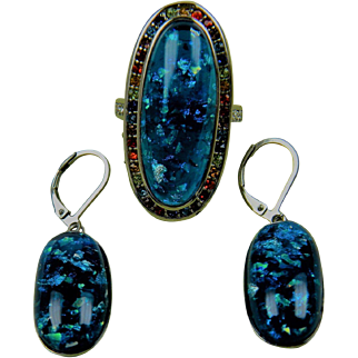 Lab Opal Ring with Matching Opal Earrings