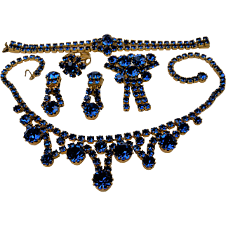 Rare Royal Blue Rhinestone Parure with Ring, Earrings, Brooch, Bracelet, and Necklace