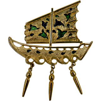 Chinese-Inspired Vintage Junk Boat Brooch