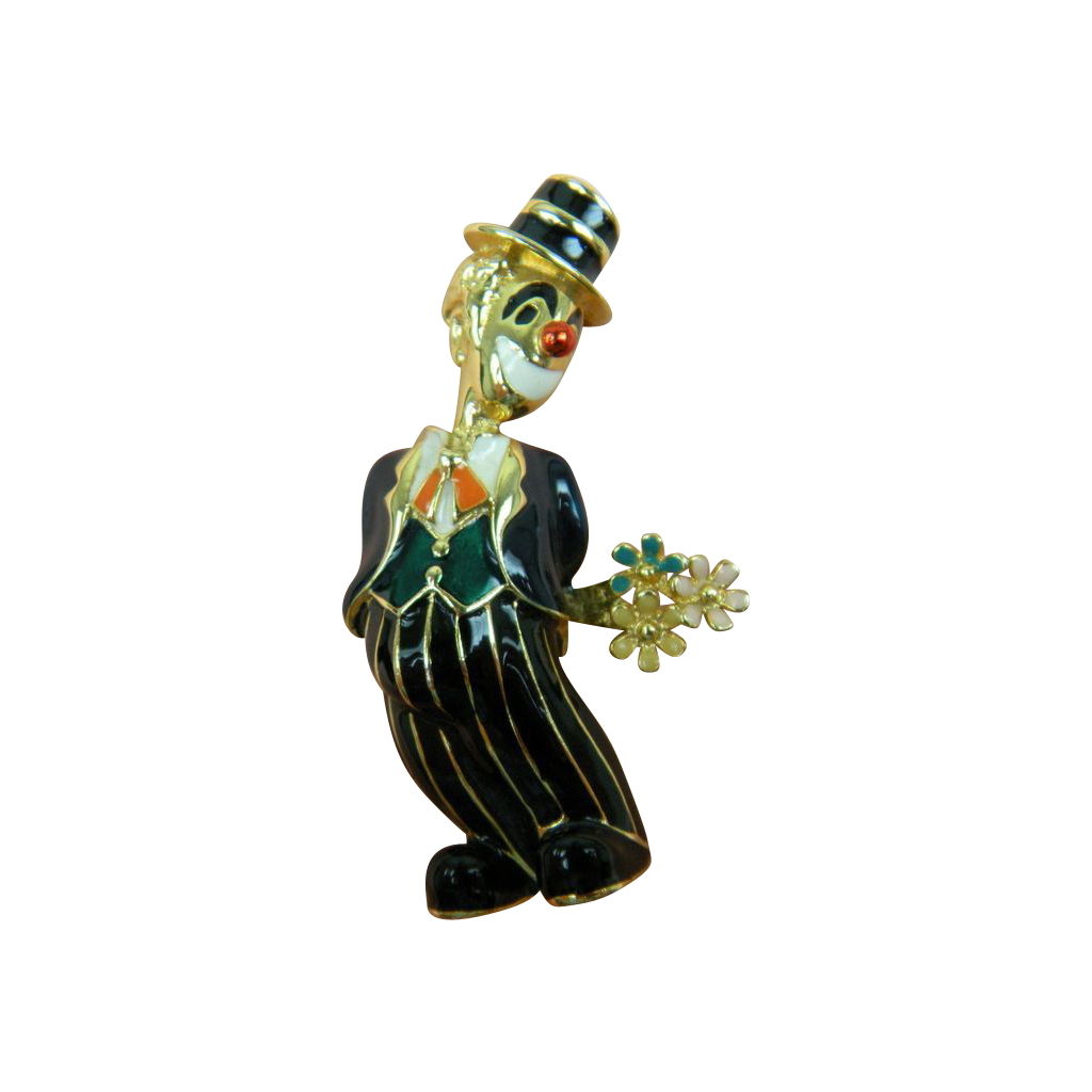 Fun Figural Enameled Clown Brooch