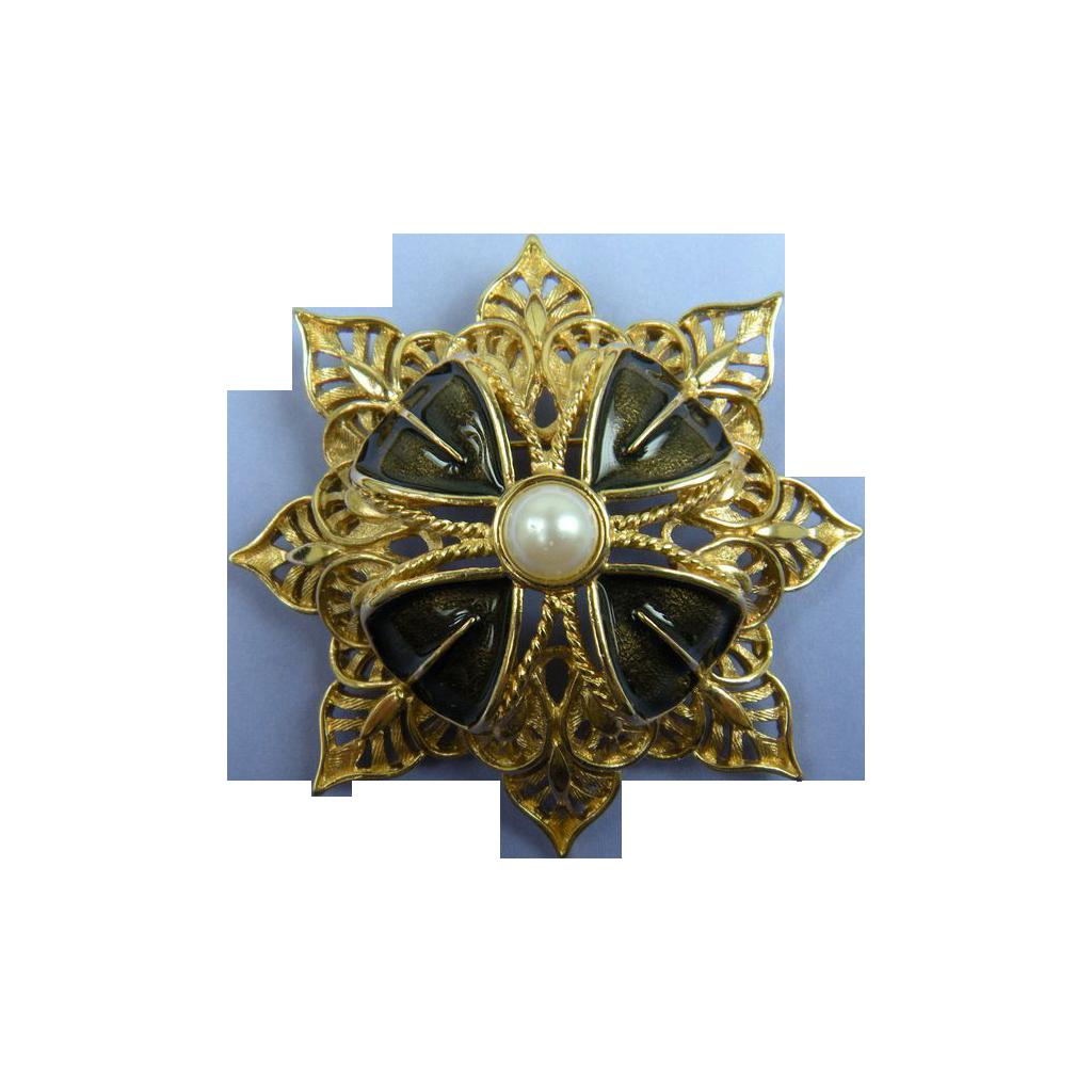 MONET Modified Maltese Cross Brooch