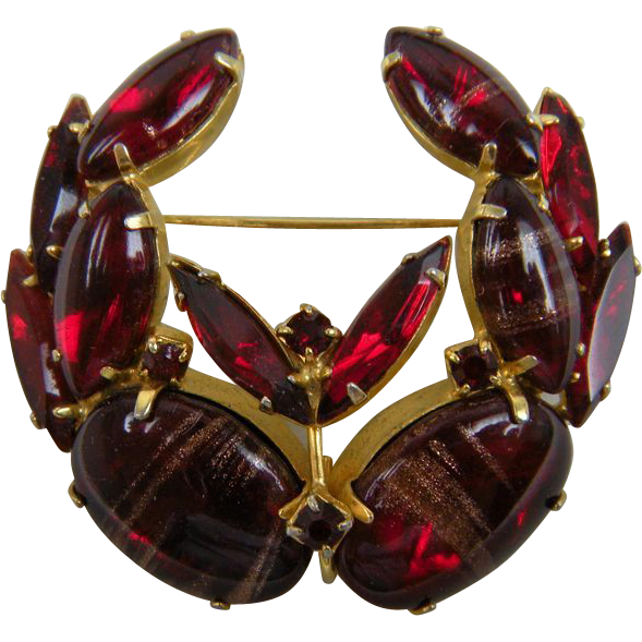 Ruby Red Adventurine Stone Brooch Delizza & Elster Book Reference