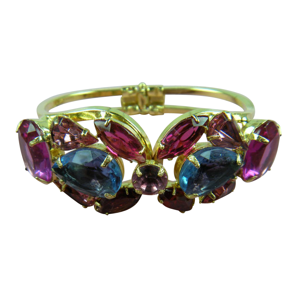 Fantastic Delizza & Elster Clamper Style Bracelet Purples and Pinks
