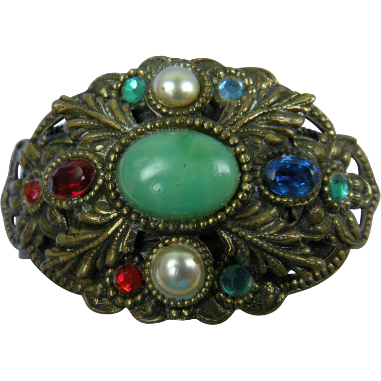 Czech-Style Antiqued Stamped Brass Bangle Bracelet with Colorful Stones