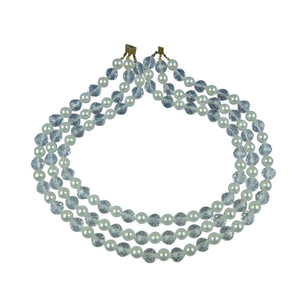 1960's Faceted Lucite and Imitation Pearl Necklace