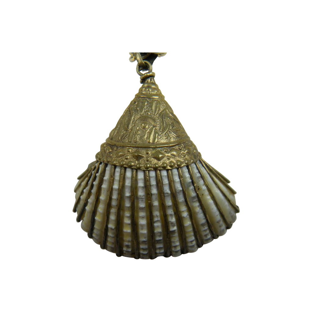Real Shell Pendant with Repousse' Brass Trim