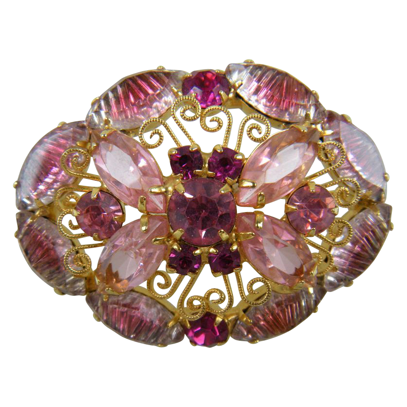 DeLizza and Elster Pink Scrollwork Brooch Book Reference