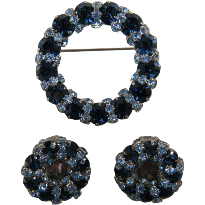 WARNER Signed Royal Blue Rhinestones Brooch with Matching Earrings