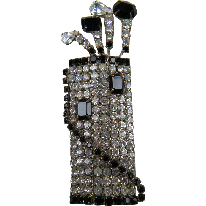 Huge Rhinestone Brooch Golf Clubs