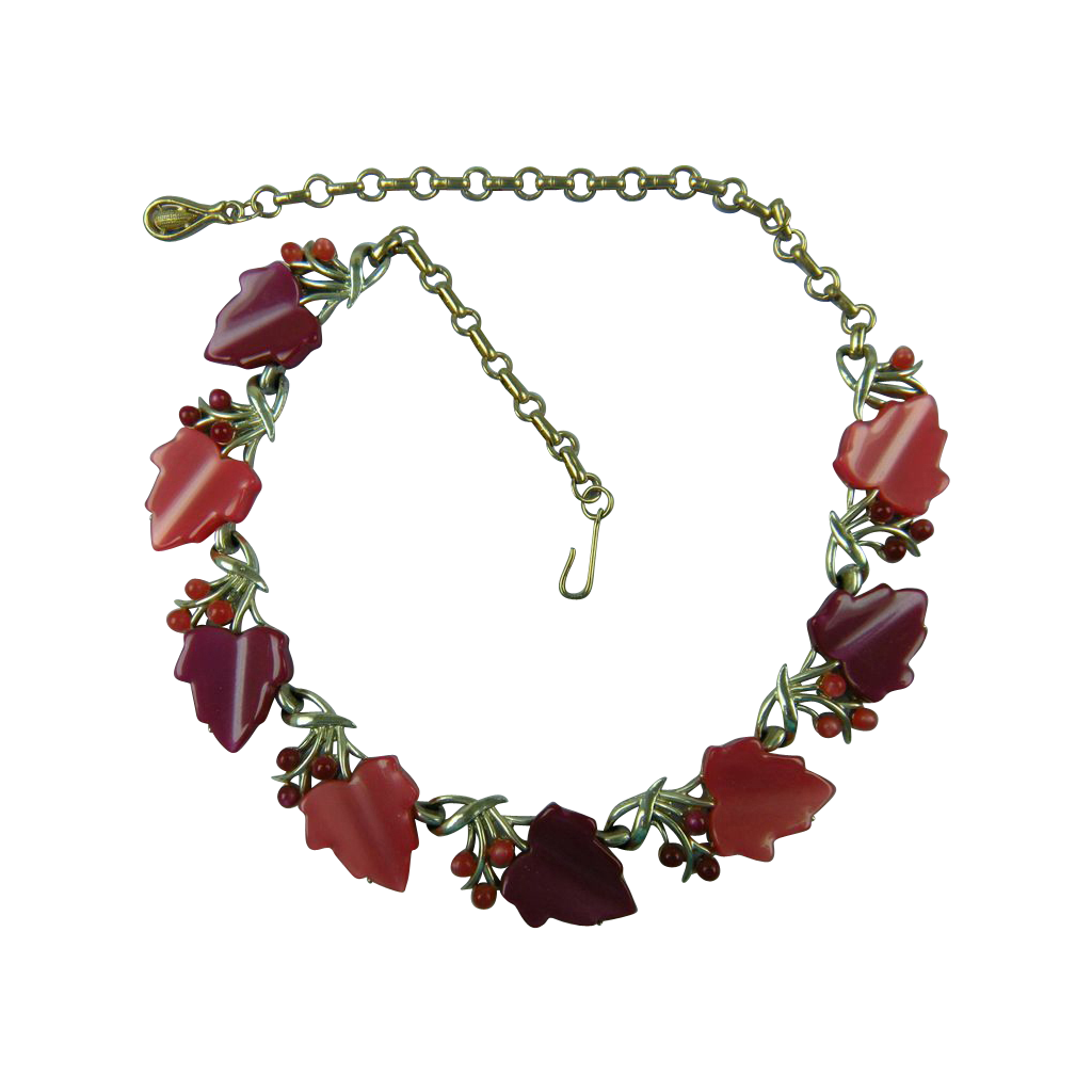 CORO signed Thermoplastic Necklace 1950's
