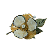 VENDOME Enameled Flower Pin with Rhinestones Book Piece