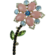 Rhinestone Flower Pin Big and Bold