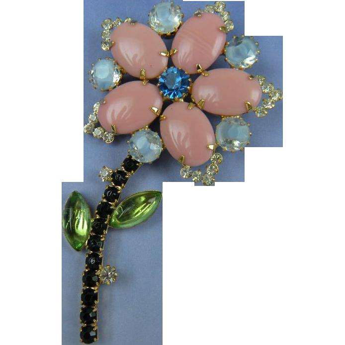 Rhinestone Flower Pin Big and Bold