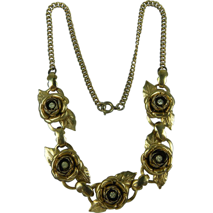 Rose Motif Necklace 1950's Unsigned