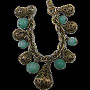 Chunky Charm Bracelet 1950's Book Piece