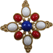 Red, White, & Blue Maltese Cross Signed SARAH COVENTRY Brooch