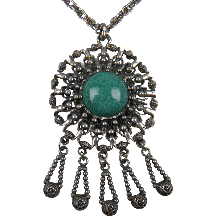 Terrific 1960's Pendant with Extra Long Chain