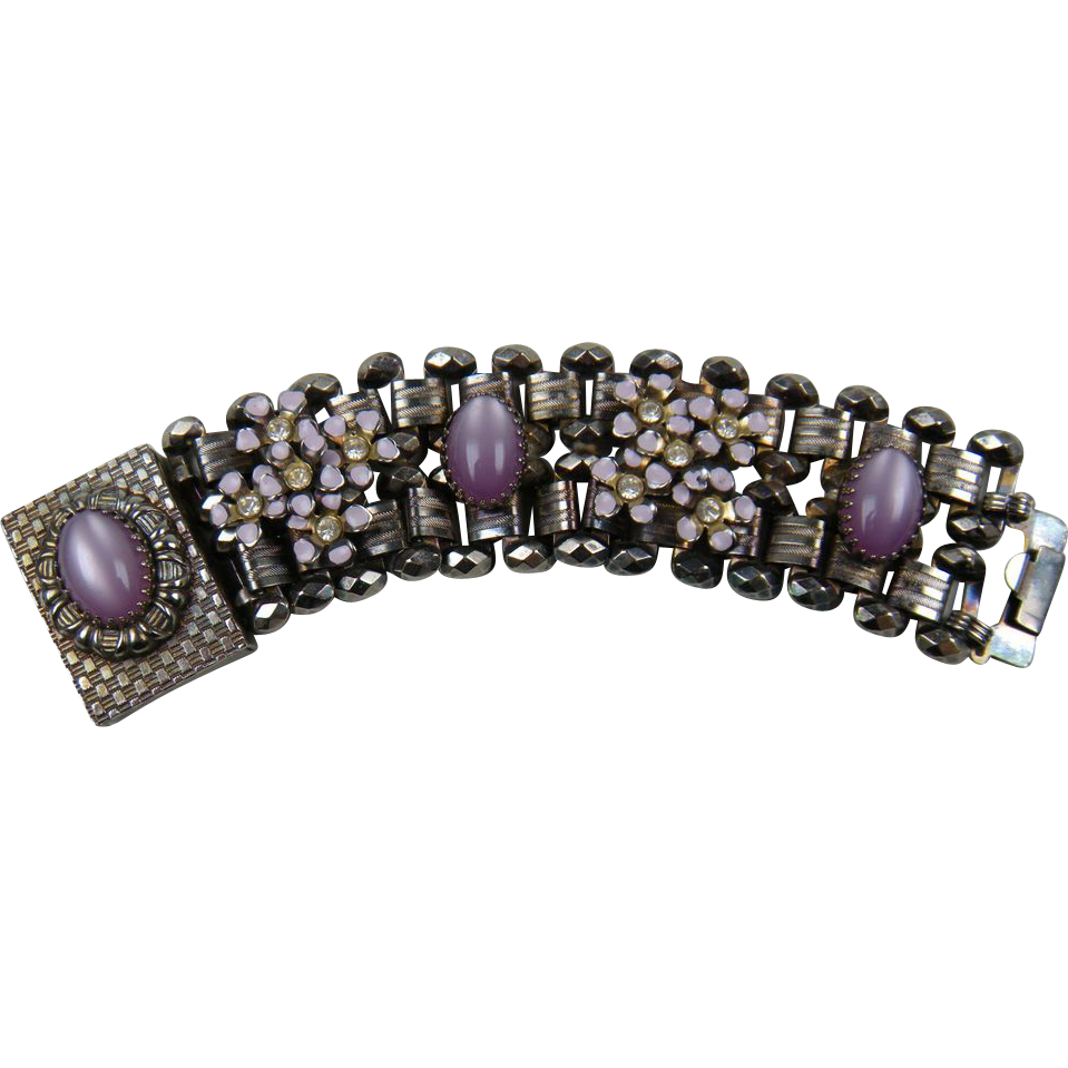 Absolutely Gorgeous Link Bracelet with Lilac Moonstones and Enameled Accents