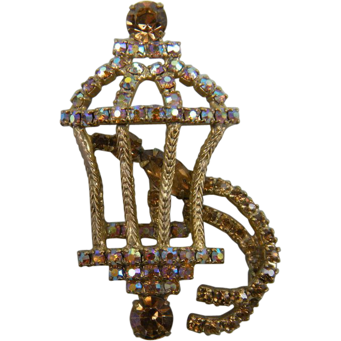 Beautiful Bird Cage Brooch Unsigned