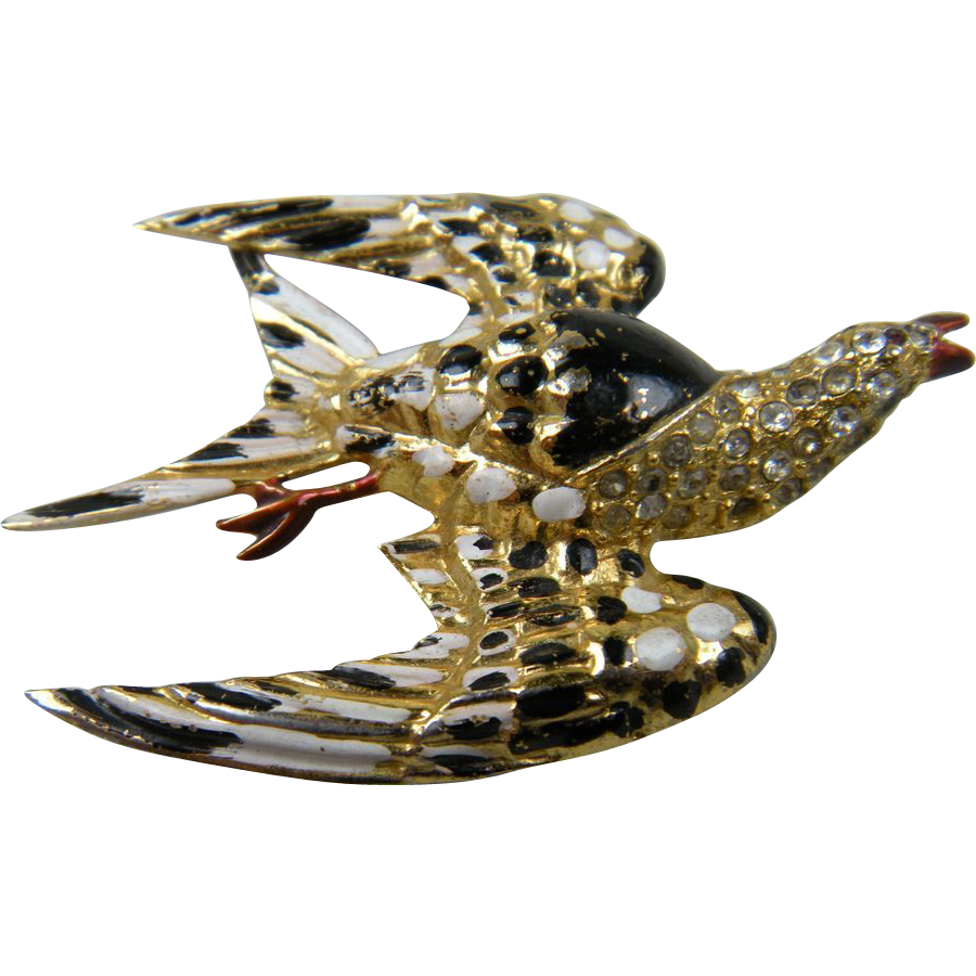 Unsigned CORO Enameled Bird Brooch