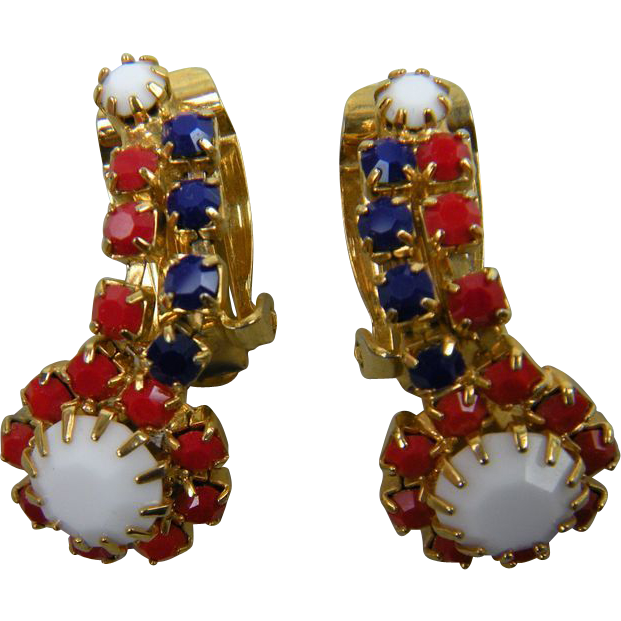 Red, White, and Blue Rhinestone Earrings Clip Style