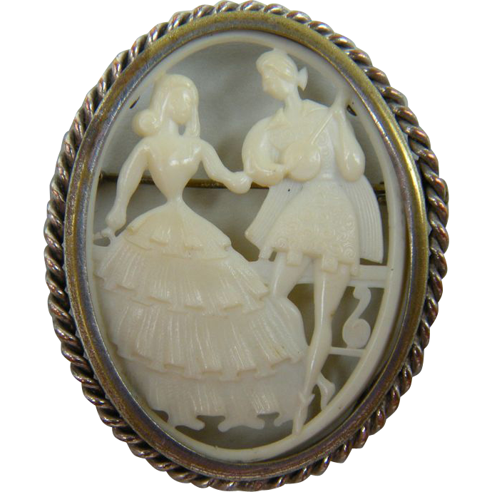 Charming Old Celluloid Brooch Courtship Scene