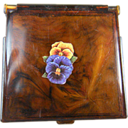 Wonderful Faux Tortoise Celluloid Compact with Pansy Transfer