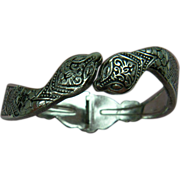 Signed Egyptian Revival Snake Clamper Style Bracelet