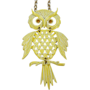 Huge 1970's Owl Pendant Book Piece