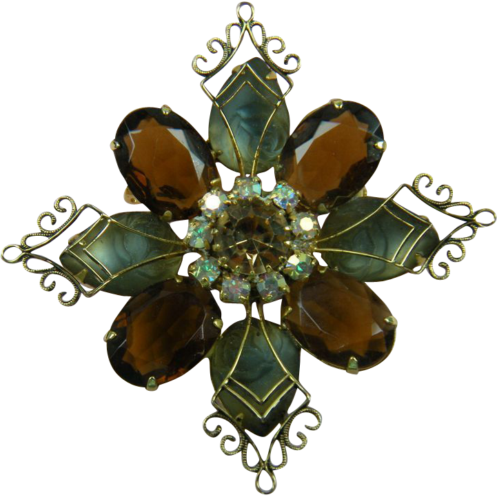 Fantastic Modified Maltese Cross Rhinestone Brooch