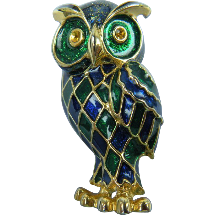 Jewel Tones Enameled Owl Brooch Large!