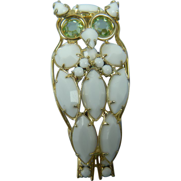 Milk Glass Owl Brooch Large