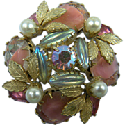 Shades of Pink Rhinestone Brooch
