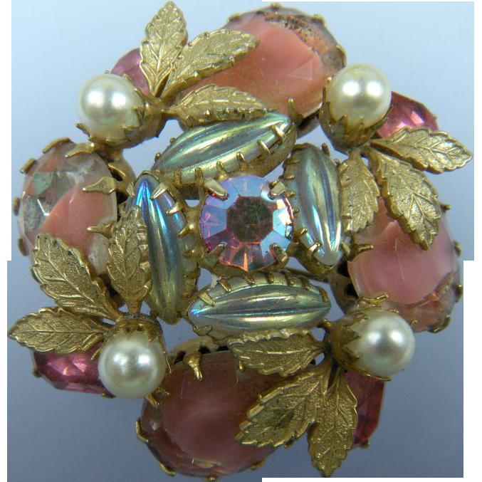 Shades of Pink Rhinestone Brooch