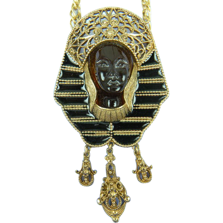 Huge Egyptian Revival Pharaoh Pendant with Enameling