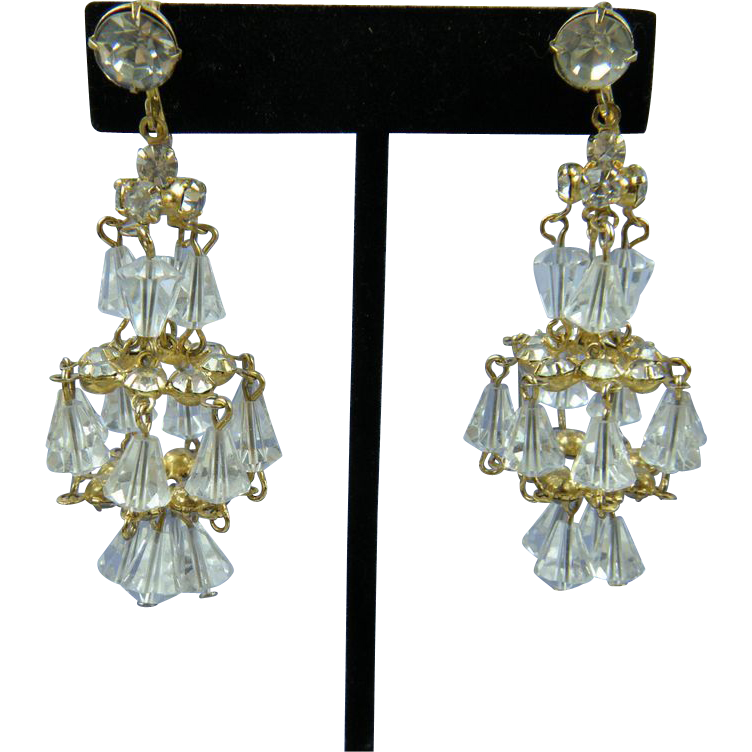 Unsigned Hattie Carnegie Chandelier Style Crystal Earrings Book Reference