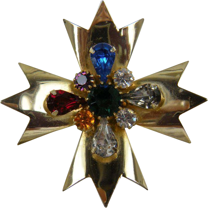 Golden Maltese Cross Pin with Jewel Tone Accents