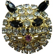 Rhinestone Cat with Whiskers Unsigned