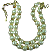 Signed CAROLEE Double Strand Imitation Pearl Necklace