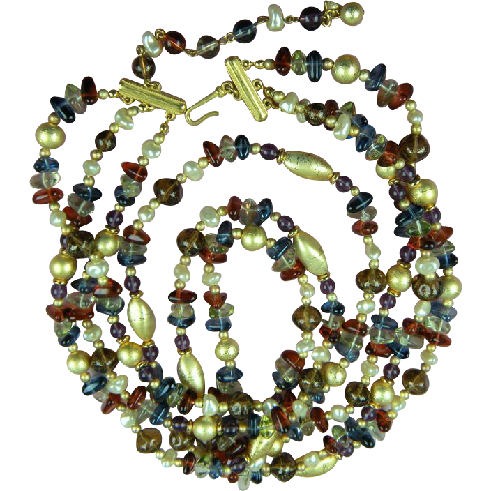 Signed Beaded Necklace Extra Long
