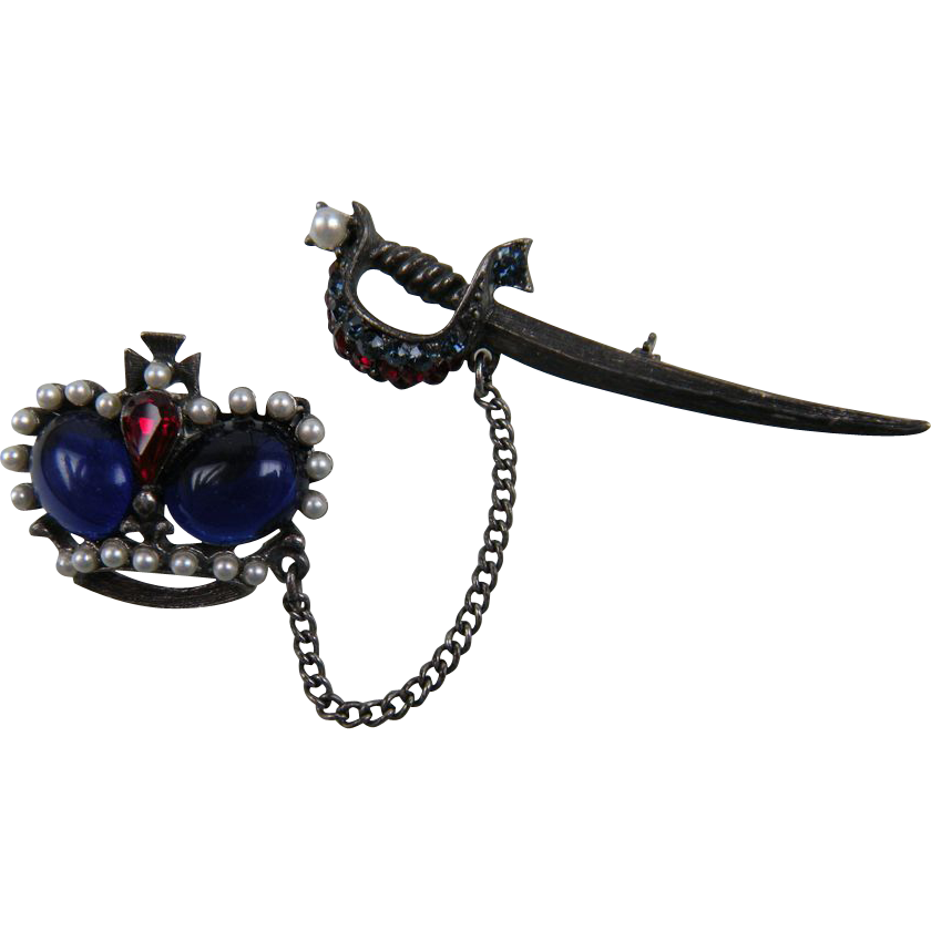 Signed WEISS Crown and Sword Chatelaine