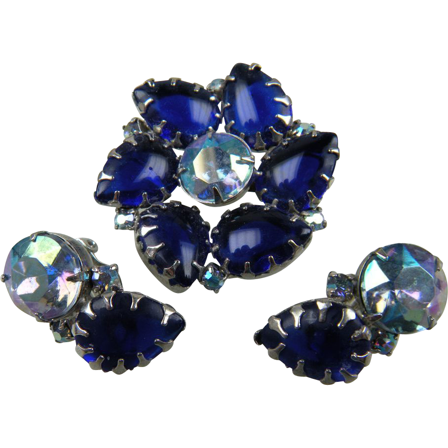 Cobalt Blue Rhinestone Brooch with Matching Earrings