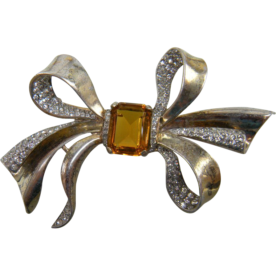 Signed TRIFARI Huge Sterling Bow Brooch 1944 Design